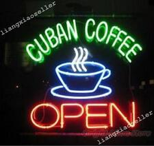 """17""""X14"""" Cuban Coffee Open Business Store Beer Bar Real Neon Light Sign Free Ship"""