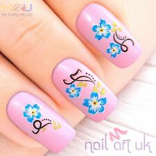 Blue Flower Water Decal Nail Art Tattoos Stickers