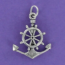 Anchor Ship Wheel Charm Sterling Silver for Bracelet Ocean Nautical Captain