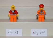 Lego Minifigure cty149 cty041 Town City Girl, Construction Worker Orange  #LX752