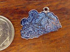 Hamilton Blue Guilloche Enamel charm Vintage sterling silver Bermuda Island Map