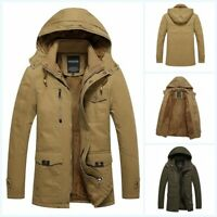 Men's Hooded Cotton 100% Winter Coat Jaket Fleece Lined Military Outdoor Outwear