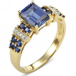 Jewelry Women Bridal Emerald Cut Blue Sapphire 18K Gold Filled Rings Size 9