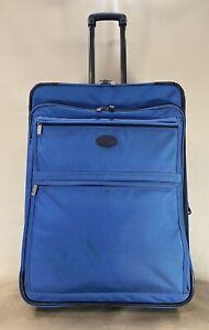"""Kirkland Signature Duramax 26"""" Upright Expandable Wheeled Rolling Suitcase Blue"""
