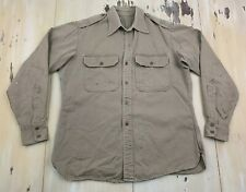 Us Army Vtg 1946 Post Wwii Khaki Utility Uniform Workwear Id'd Shirt, Mens Large