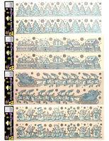 2 x Large Glitter Christmas Window Border Stickers - each 21 inch / 50cm