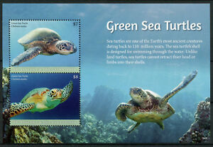 St Vincent & Grenadines 2018 MNH Green Sea Turtles 2v S/S Turtle Reptiles Stamps