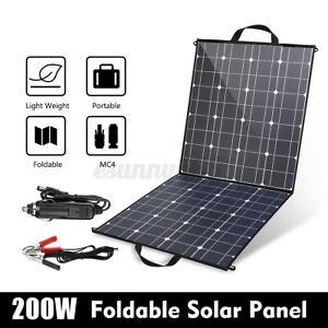 200W Foldable Mono Solar Panel 12V battery Charge Controller Caravan For