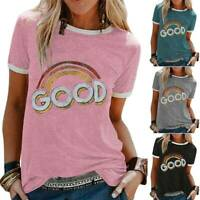 Womens GOOD Letter Printed Short Sleeve T-Shirt Blouse Pullover Basic Tee Tops