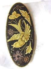 BROOCH PIN OVAL VINTAGE SWOOPING BIRD DAMASCENE TROMBONE CLASP