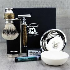 COMPLETE CLASSIC SHAVING SET ft Silver Tip Brush & DE Safety Razor READY TO USE