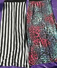 Ladies stretch long pencil skirt black white stripes pink blue animal print M 12