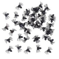 40 SMALL HALLOWEEN CREEPY PARTY DECORATION FAKE PLASTIC TOYS FUNNY BLACK SPIDERS