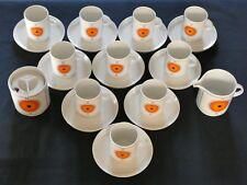 Vintage SERVICE à CAFE porcelaine THOMAS Germany décor orange noir années 70