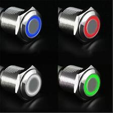 12V LED Power Button Switch Push ON/OFF DIY Angel Eye Push-buttons Metal 16mm SH