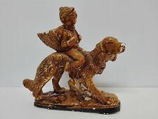 Antigua figura de porcelana firmada A. SANTINI Niño montado en su perro  Años 50