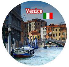 VENICE, ITALY - SIGHTS / FLAG - ROUND NOVELTY SOUVENIR FRIDGE MAGNET - GIFT NEW