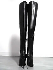LANG LEDER OVERKNEE STIEFEL LUXUS 1969 ITALY ZH1 BOOTS LEATHER HIGH HEELS BLACK