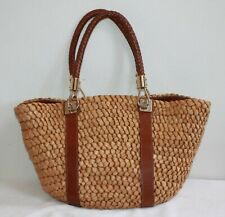 df2340f643c8 MICHAEL KORS LARGE SANTORINI CORN HUSK AND BROWN LEATHER TOTE