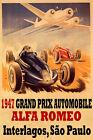1947 Grand Prix Automobile Alfa Romeo Interlagos Vintage Poster Repro FREE S/H