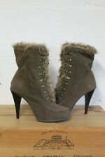 GREEN BROWN FAUX SUEDE HIGH HEEL STEAMPUNK VICTORIAN STYLE BOOTS SIZE 7  41 USED