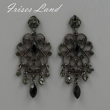 New Alloy Black Crystal Rhinestone Drop Chandelier Dangle Earrings 06194