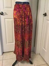NWT St Johns Bay Beautiful Vividly Colored Crinkle Boho Peasant Maxi Skirt Sz12