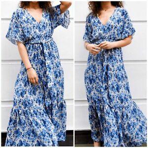 Ladies John Zack Blue And White Floral Long Length Dress