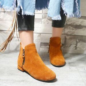 Womens Ankle Boots Block Low Heel Faux Suede Winter Warm Booties Side Zip Boots