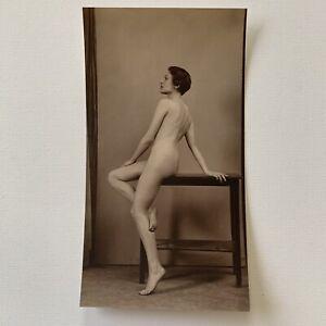 Vintage Fine Art Deco Gelatin Silver Sepia Nude Woman Female Form HR Cremer