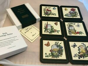 Pimpernel Irish Heritage Series Coasters 6 Sz. 4 1/8 x 4 1/8 Flowers Pot of Gold