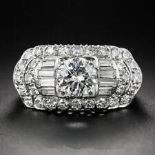 Luxurious 925 Silver White Topaz Gem Rings Men Women Wedding Engagement Size 9
