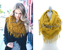 MUSTARD YELLOW FRINGE INFINITY Scarf Circle Crochet Knit Long Warm Eternity BOHO