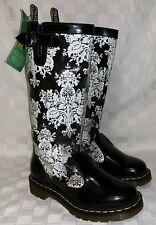 Womens USA Size 6 DR. MARTENS NELLIE FESTIVAL COLLECTION Black White Rain Boots