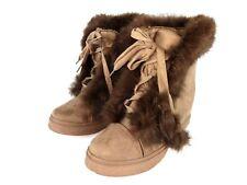 Henry Ferrera Slinky Khaki Womens Faux Fur Winter Boots Shoes Size 9