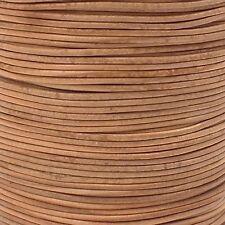 2 mm ronda el cordón de cuero-Natural - 5m