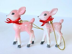 Target Wondershop Retro Pink Glitter Deer 2 Pack Christmas Ornaments NEW