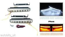 DRL 160mm Universal Car Van Bus Front LED Lights 12V Spot Fog Lamps + indicators
