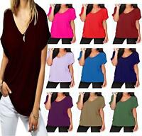 Womens Oversize Fit V-Neck Top Ladies Baggy Plus Size Batwing Turn up Sleeve