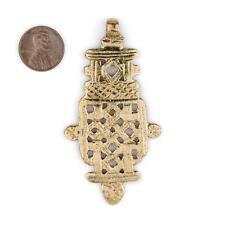 Brass Ethiopian Coptic Cross Pendant 78x40mm African Large Hole Handmade