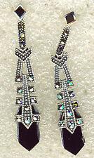 """925 Sterling Silver Black Onyx & Marcasite Drop/Dangle Earrings 38mm (1.1/2"""")"""