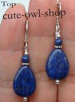 Handmade Blue Lapis Lazuli 925S Silver Dangle Earrings Leverbacks Fashion
