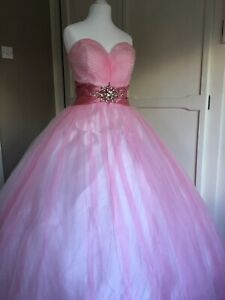 Pink Princess Style Ball Gown Prom Dress Size 10 Yasmin By Dynasty NEW WITH TAG