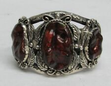 NAVAJO STERLING SILVER WITH MEXICAN FIRE AGATE MASSIVE CUFF