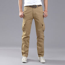 Men Solid Tactical Pants Army Military Casual Cargo Camo Combat Trousers Autumn
