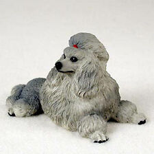 Poodle Figurine Hand Painted Statue Gray