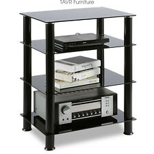 4-Tiers Media Tv Stand Audio Video Tower Tempered Glass Shevles for Tv Xbox Game