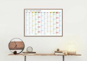 2021 - 2022 Financial Year Calendar Wall Planner Unframed Poster 12 month view