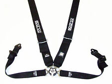 "Sparco Competition 4 Point Snap-In 3"" Seat Belt Harness with Camlock (Black) FIA"