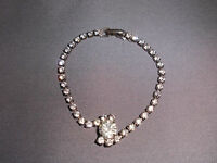 VTG Silver Tone Art Deco Styled Clear CZ Rhinestone Bracelet